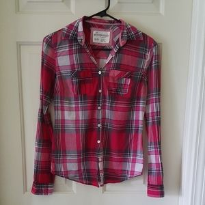 💕Aeropostale Pink/Gray/ White Plaid Size XS Shirt
